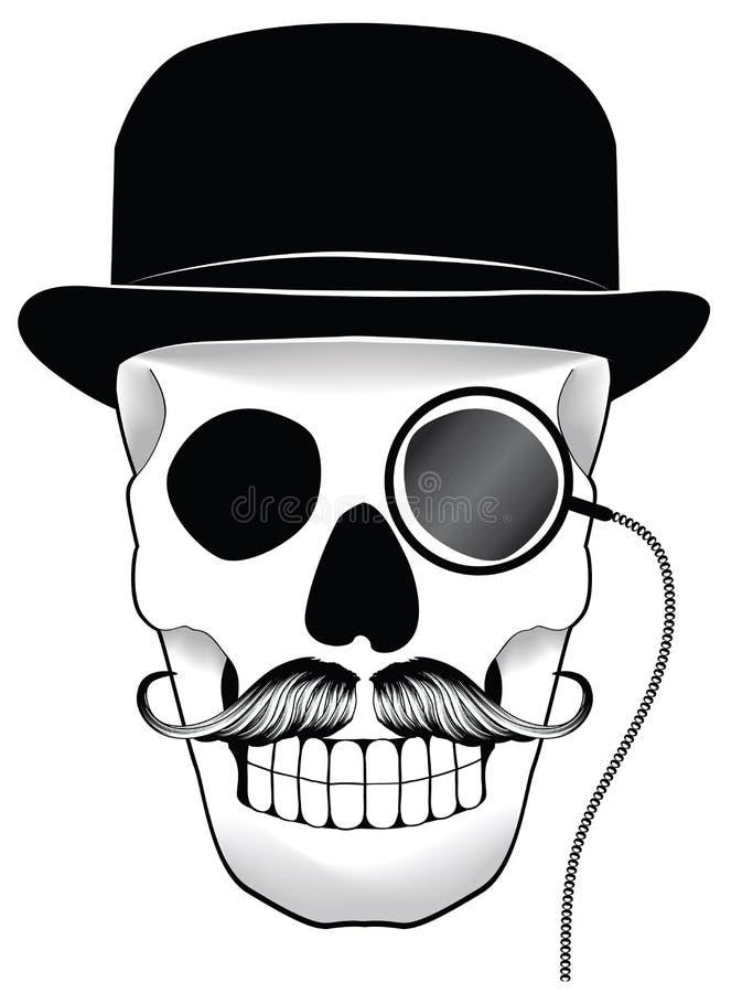 Illustratie van een schedel met hoed, snor en mon stock illustratie
