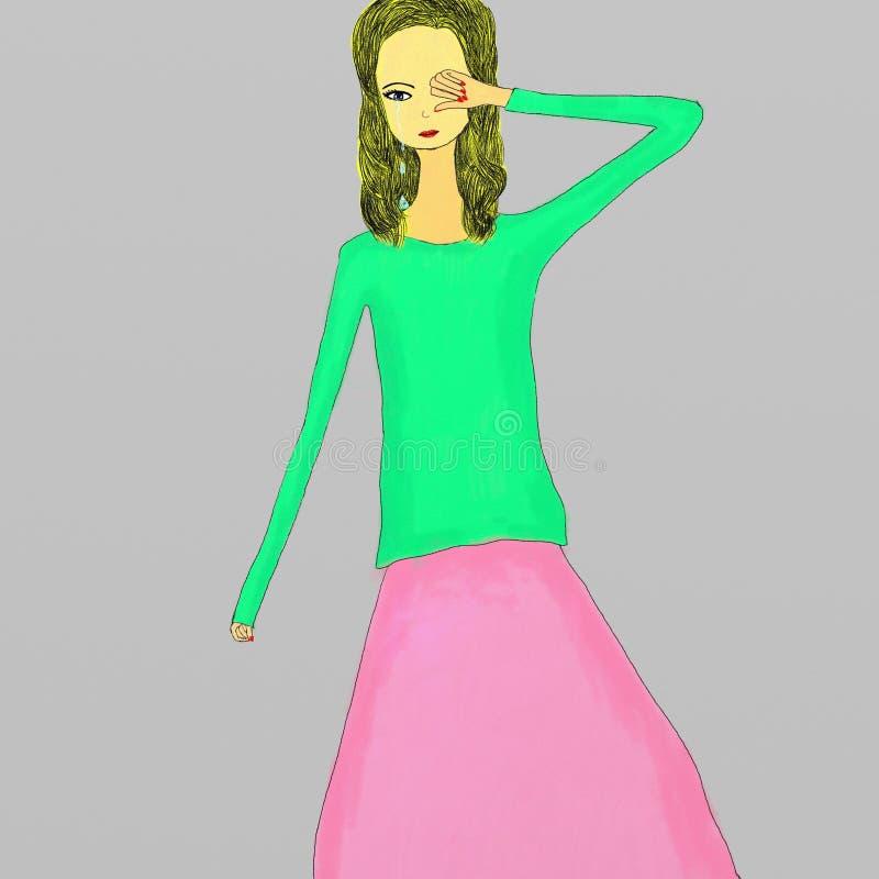 Illustratie van een schreeuwend meisje stock illustratie