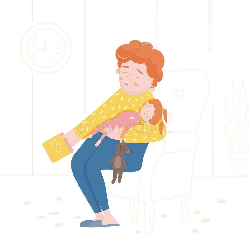 Illustratie van een slaapfamilie De dochter en de vader vielen in slaap stock illustratie