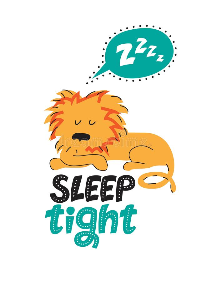 Illustratie van een slaapleeuw in beeldverhaalstijl stock illustratie
