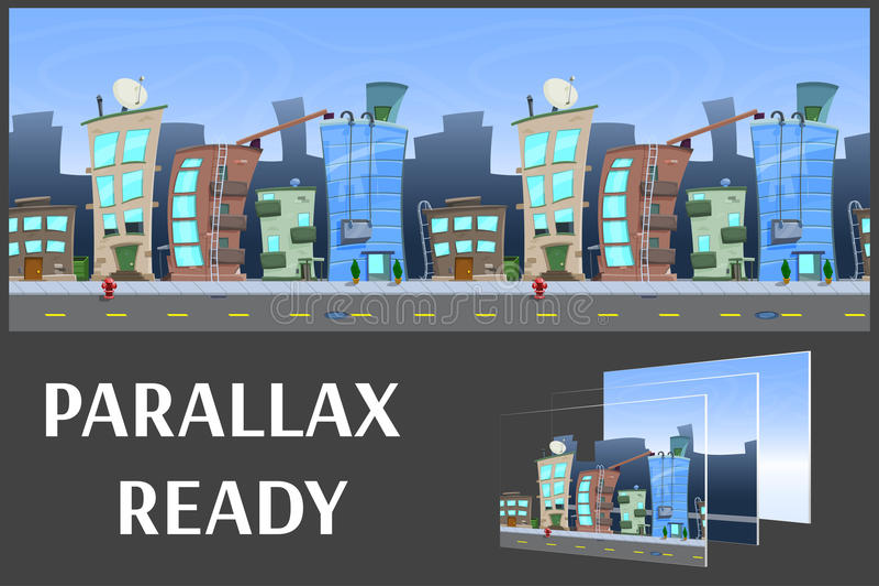 Illustratie van een stadslandschap, met gebouwen en weg, vector oneindige achtergrond met gescheiden lagen vector illustratie