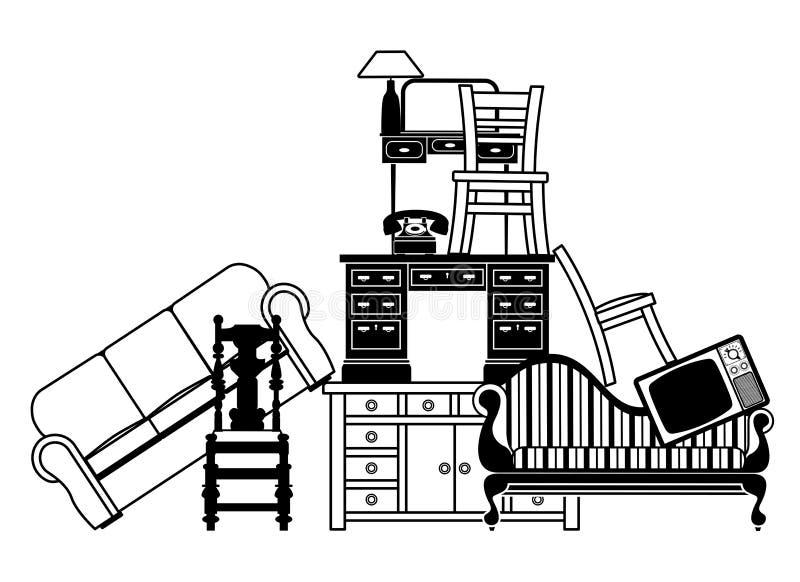Stapel van meubilair vector illustratie