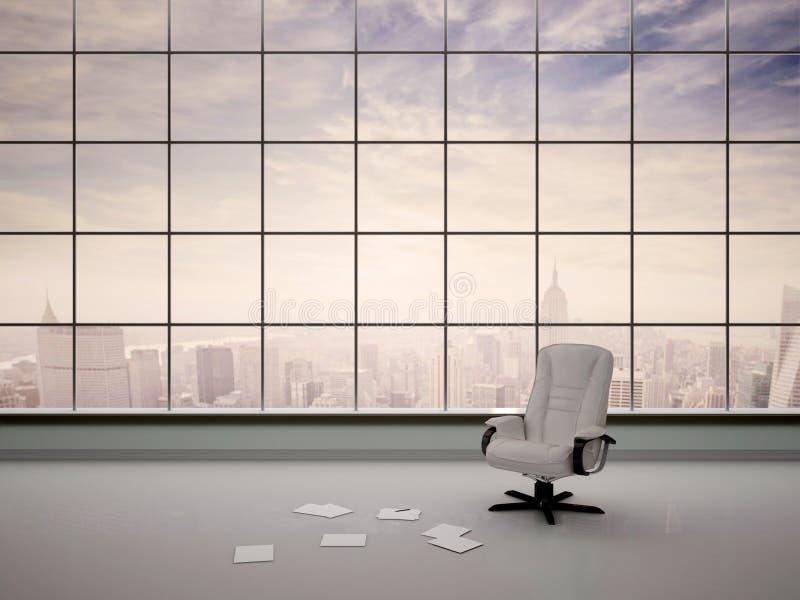 Illustratie van een stoel in een leeg bureau vector illustratie