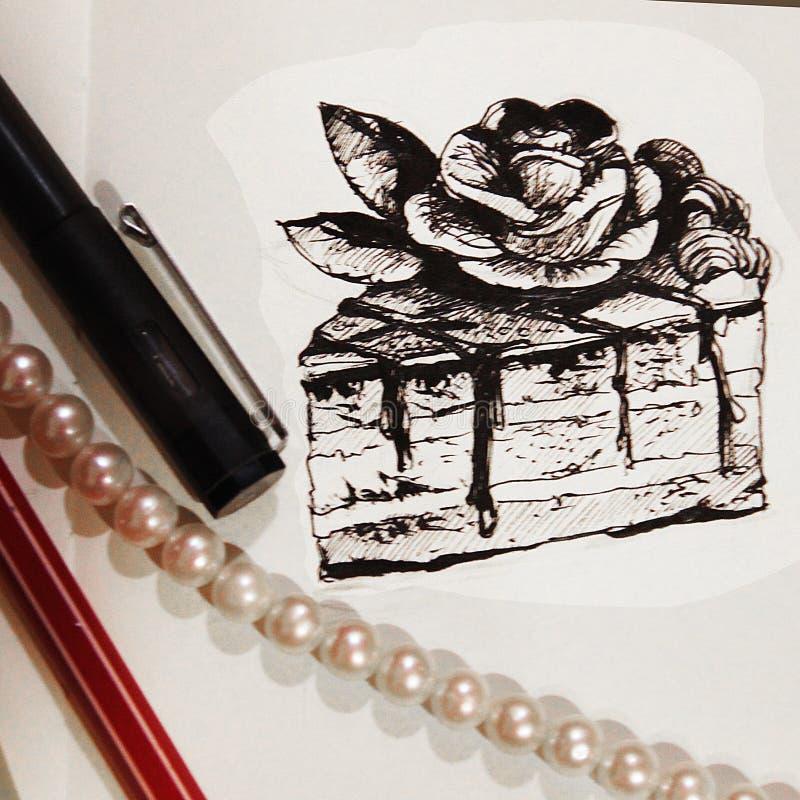 Illustratie van een stuk van cake met een potlood wordt getrokken dat royalty-vrije stock foto
