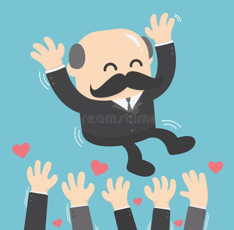 illustratie van een succesvolle omhoog succesvolle zakenman chef- worp royalty-vrije illustratie