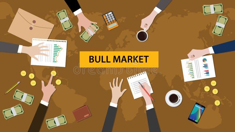Illustratie van een teambespreking over oplopende markt in een vergadering met administratie, geld, muntstukken, calculator en om stock illustratie