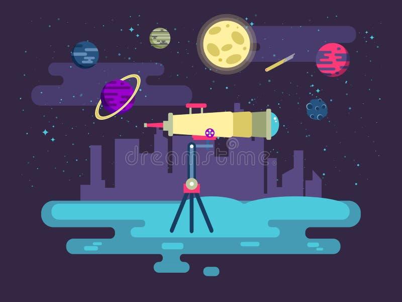 Illustratie van een telescoop op achtergrondkosmische ruimte in vlakke stijl stock illustratie