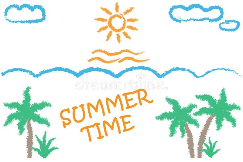 Illustratie van een tropisch landschap met palmen, zon, golven en het van letters voorzien - de Zomertijd vector illustratie
