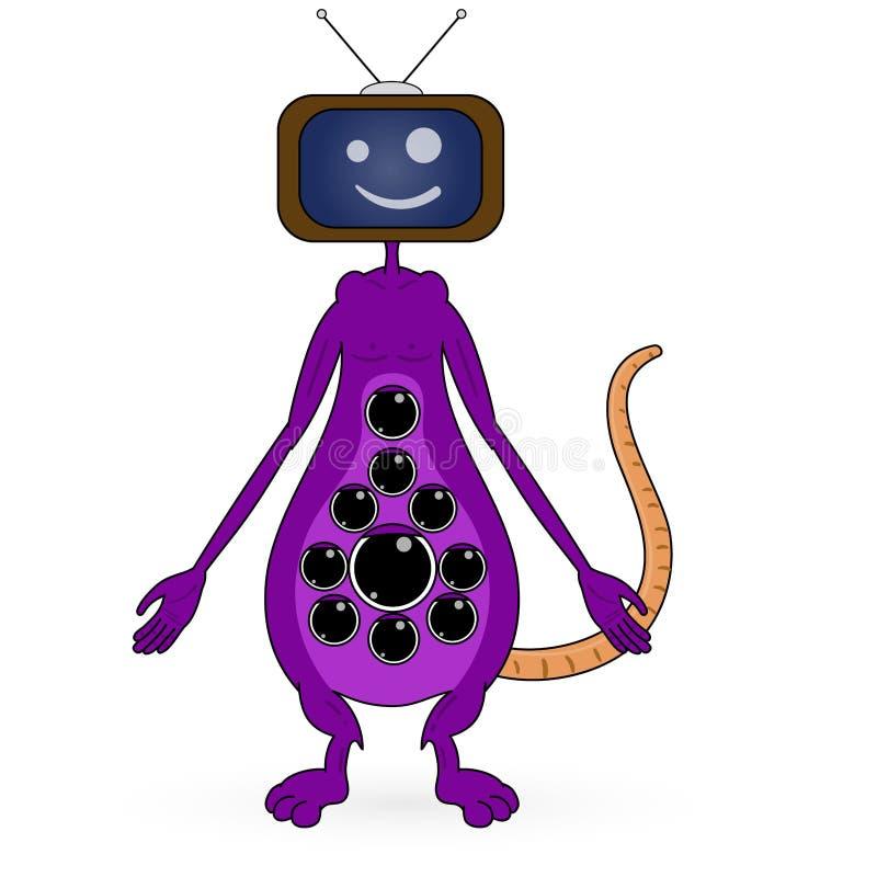 Illustratie van een TV met het roze monster gillen vector illustratie