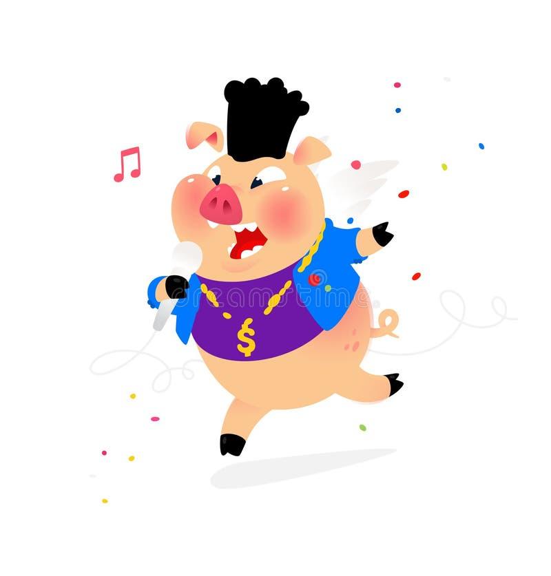 Illustratie van een varken met een microfoon Vector Hiphopuitvoerder van populaire liederen in een varkenskostuum Mascotte voor m stock illustratie