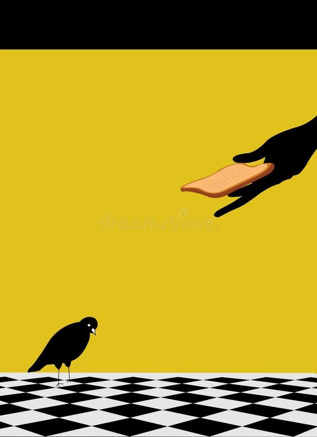 Illustratie van een vogel die een boterham worden gegeven vector illustratie