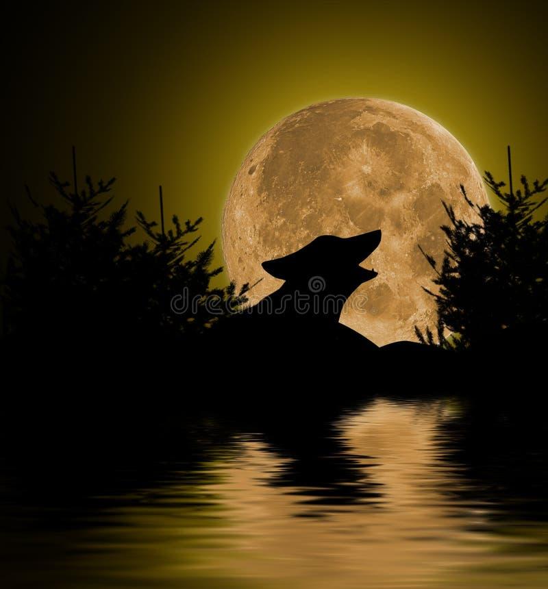 Illustratie van een volle maanlandschap stock afbeelding