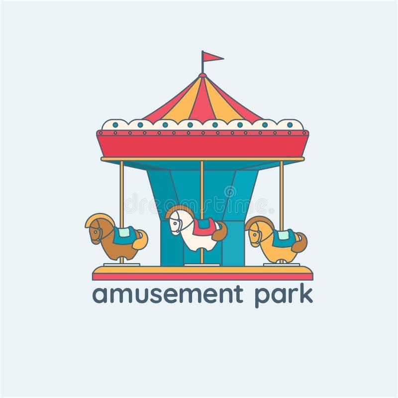 Illustratie van een vrolijk-gaan-ronde Carrousel met paarden royalty-vrije illustratie