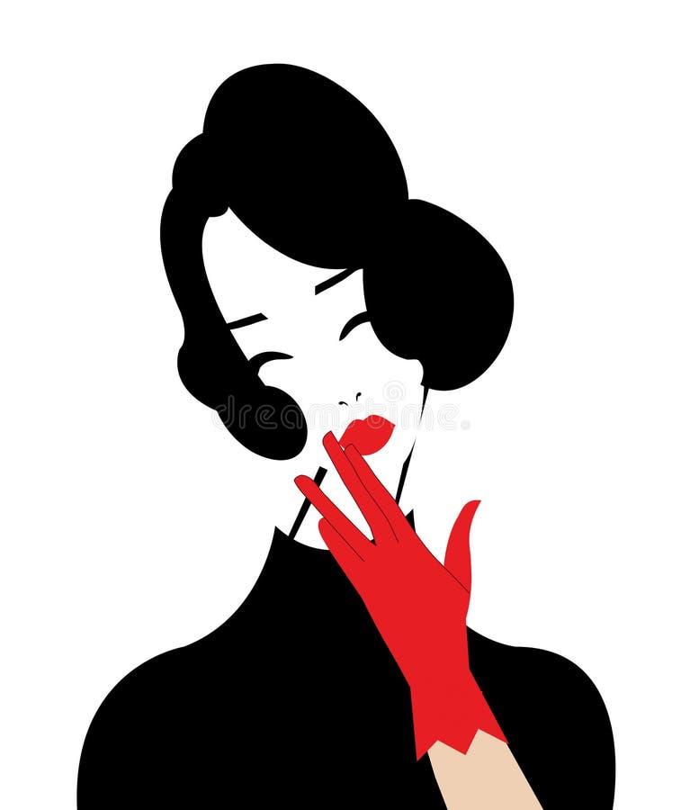 Illustratie van een vrouw die nadenkend kijken stock illustratie