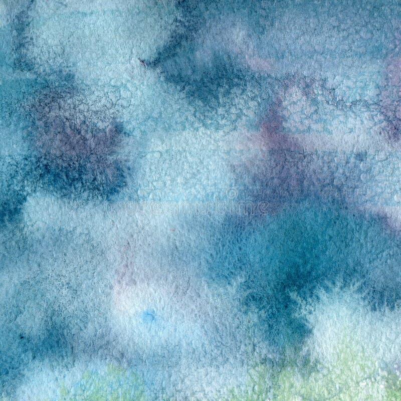 Illustratie van een waterverftextuur van blauwe en purpere bloemen vector illustratie