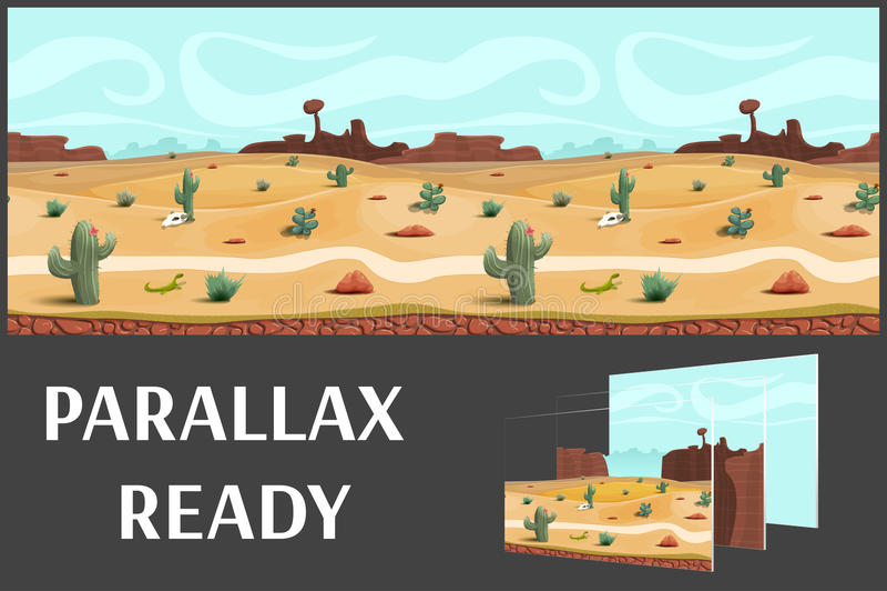 Illustratie van een woestijnlandschap, met kruiden, bergen en hemel, vector oneindige achtergrond met gescheiden lagen vector illustratie