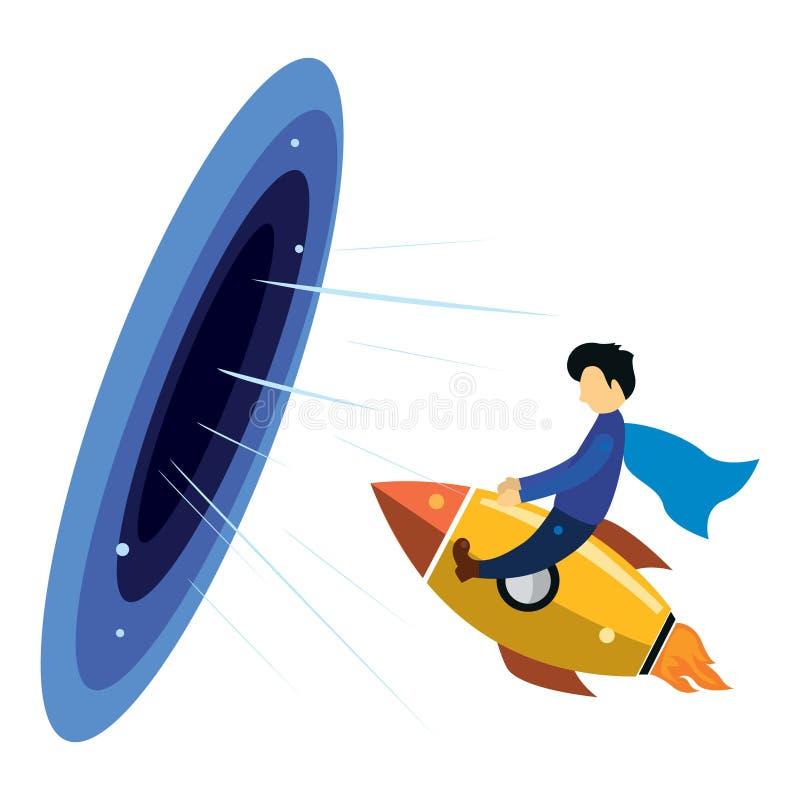Illustratie van een zakenman die gebruikend een raket aan de afmeting van succes vliegt royalty-vrije illustratie