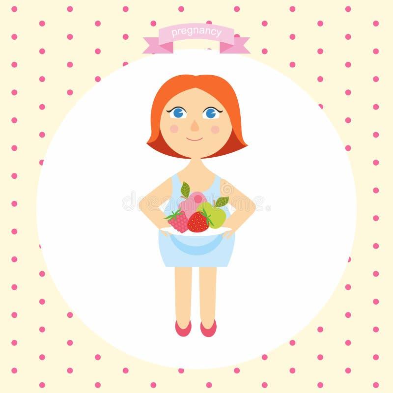 Illustratie van een zwanger vrouwenbeeldverhaal met een plaat van vers fruit Concept Gezonde levensstijl reeks zwangerschaps royalty-vrije illustratie
