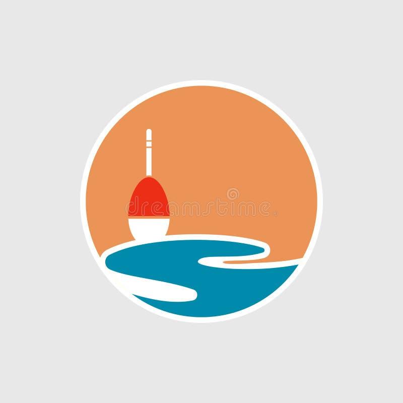Illustratie van etiket met vlotter en zon en overzees pictogram Vissend embleem, vissenembleem, vissensymbool, kampembleem Vissen stock illustratie