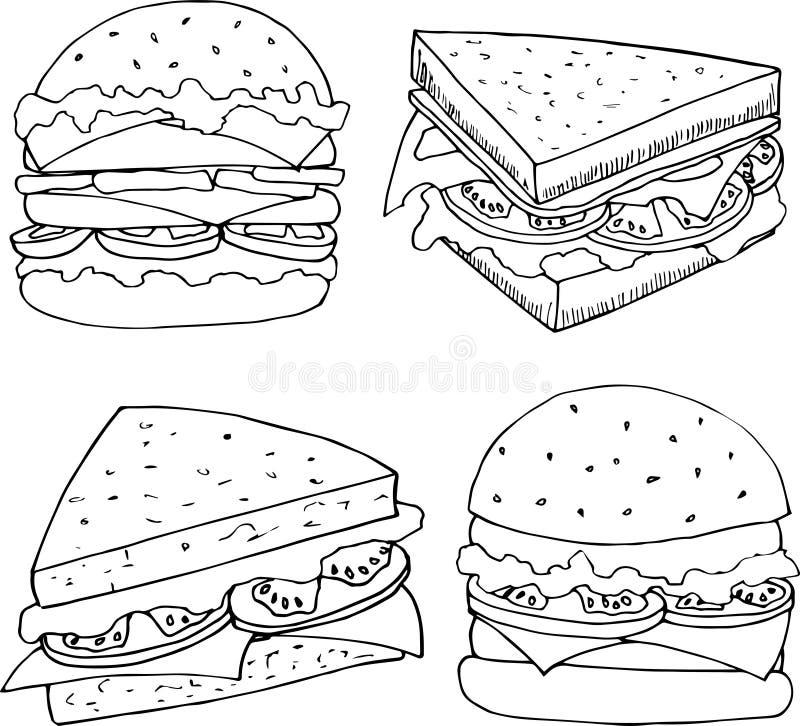 Illustratie van fastfood in beeldverhaalstijl Burgers en sandwiches vectorillustratie voor menuontwerp vector illustratie