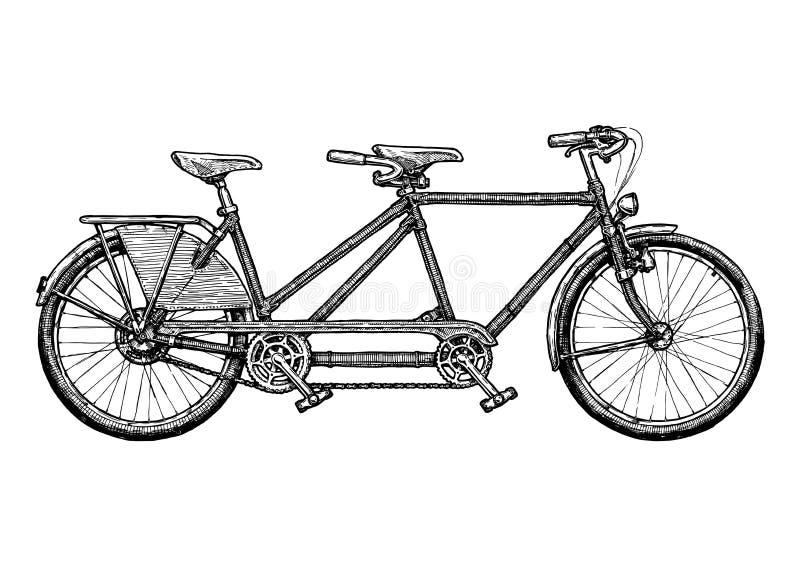 Illustratie van fiets achter elkaar vector illustratie