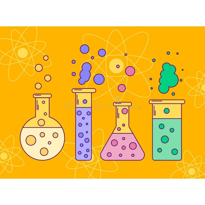 illustratie van fles met vloeistoffen, lijnkunst, bellen, CH stock illustratie