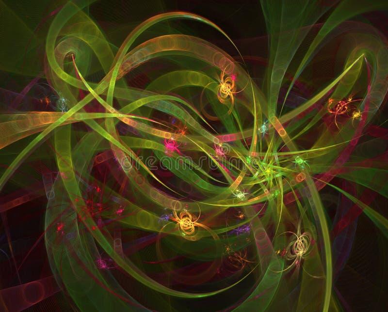 Illustratie van futuristische abstracte gloeiende achtergrond die motie op vage neonlichtkrommen lijken stock illustratie