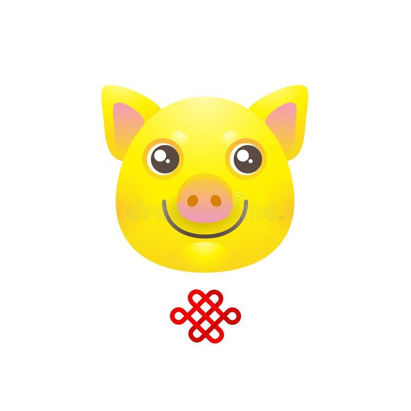 Illustratie van geel varken, symbool van 2019 op Chinese calend vector illustratie