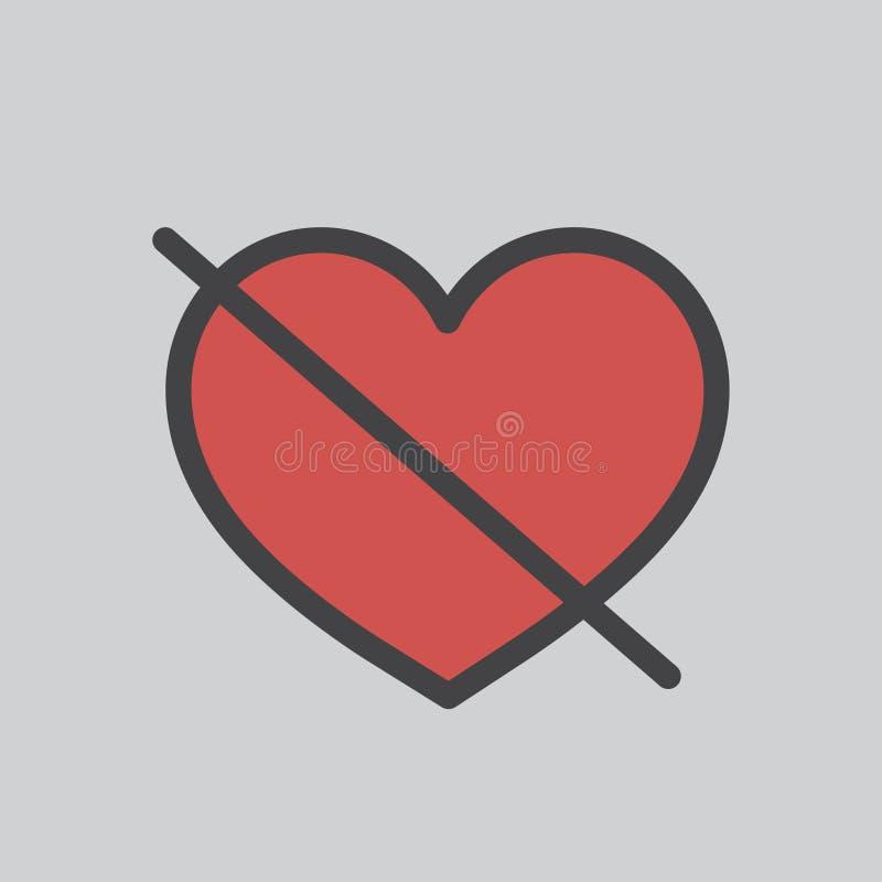Illustratie van geen liefdeteken royalty-vrije illustratie