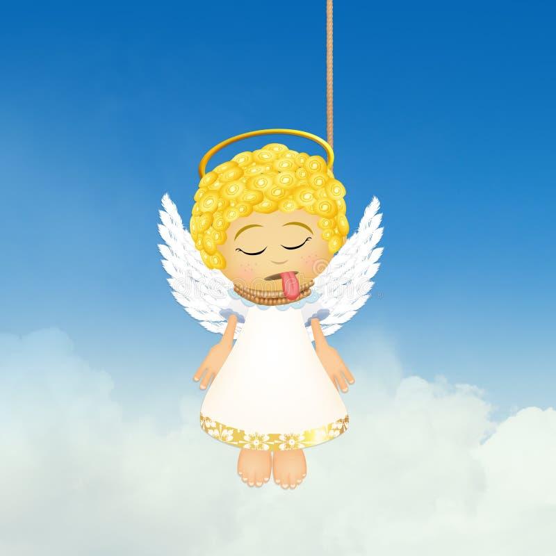 Illustratie van gehangen engel stock illustratie