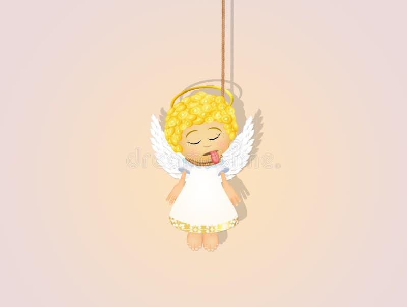Illustratie van gehangen engel royalty-vrije illustratie