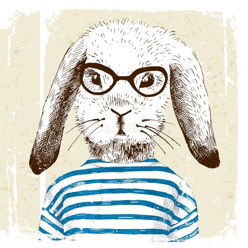 Illustratie van gekleed omhoog konijntje stock illustratie