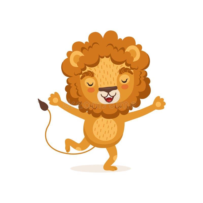 Illustratie van gelukkig glimlachend het beeldverhaalkarakter die van de jong geitjeleeuw met omhoog poten lopen Wild dier met we vector illustratie