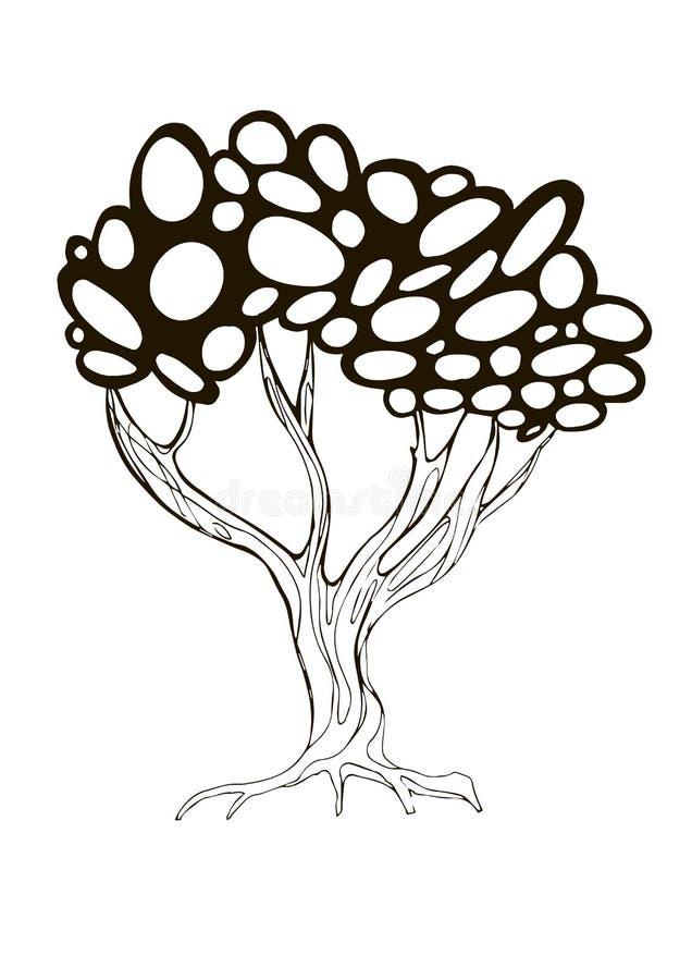 Illustratie van gestileerde boom met ronde vormen royalty-vrije stock foto