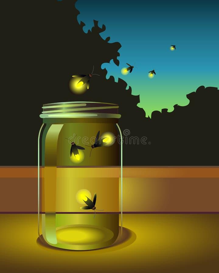 Illustratie van glimwormen die aan een glaskruik ontsnappen stock illustratie