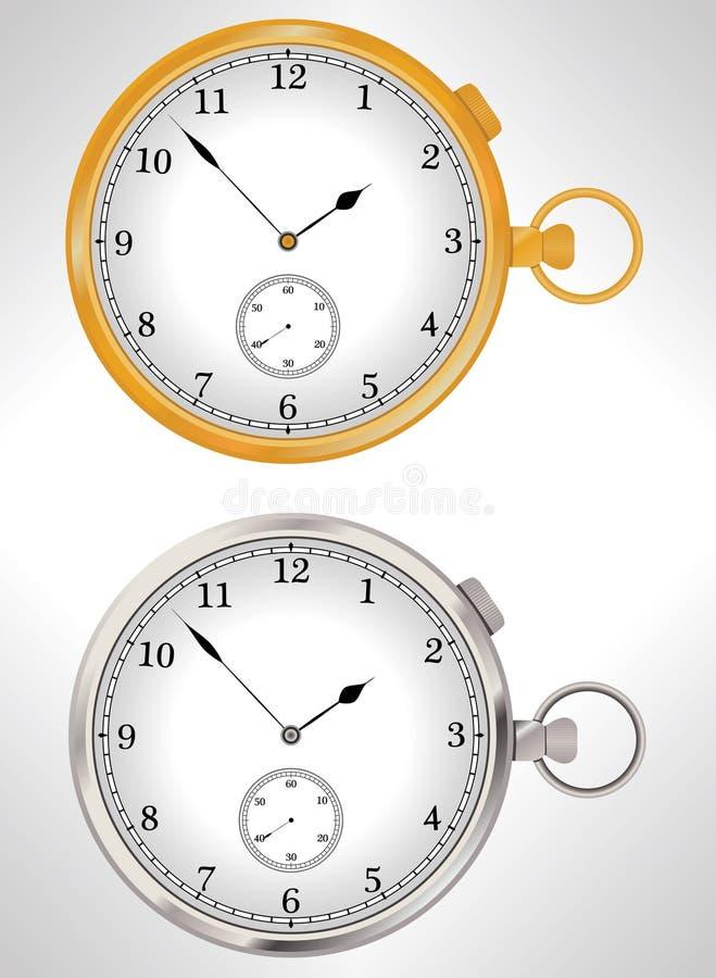 Illustratie van gouden en zilveren zakhorloges vector illustratie