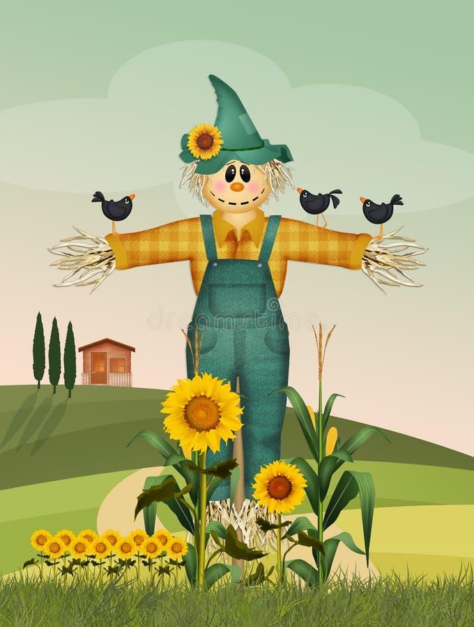 Illustratie van grappige vogelverschrikker vector illustratie