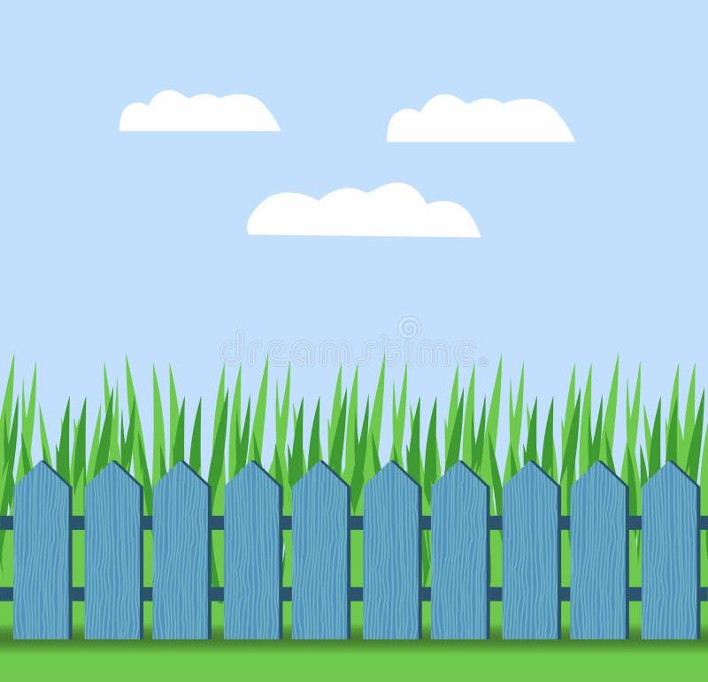 Illustratie van gras en omheining op een achtergrond van blauwe hemel met wolken stock illustratie