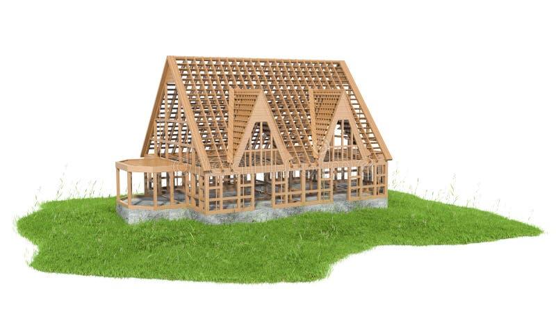 Illustratie van gras met nieuw huis in aanbouw royalty-vrije illustratie