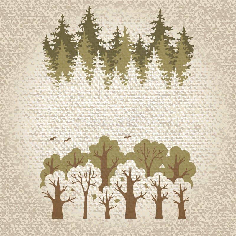 Illustratie van groen naald en vergankelijk bos vector illustratie