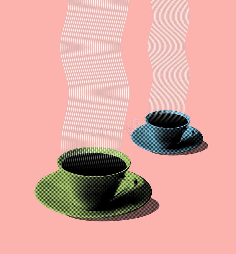 Illustratie van groene en blauwe de jaren '50stijl van koffiekoppen stock afbeeldingen