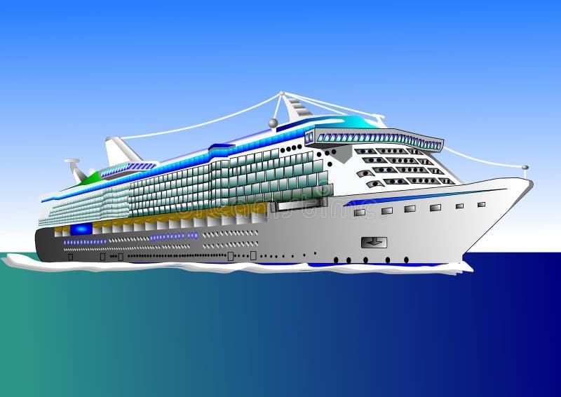 Illustratie van groot cruiseschip op het overzees vector illustratie