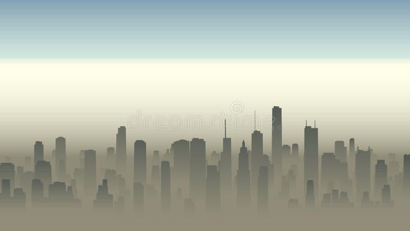 Illustratie van grote stad in nevel stock illustratie