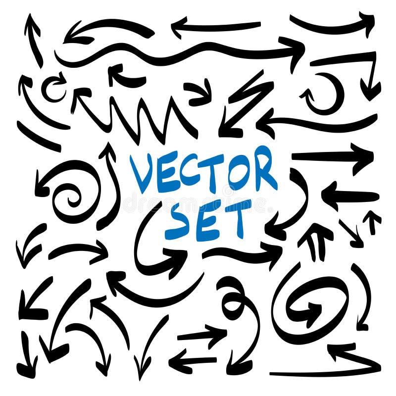 Illustratie van Grunge-Reeks van de de Krabbel Vectorpijl van de Schets de Met de hand gemaakte Waterverf stock illustratie