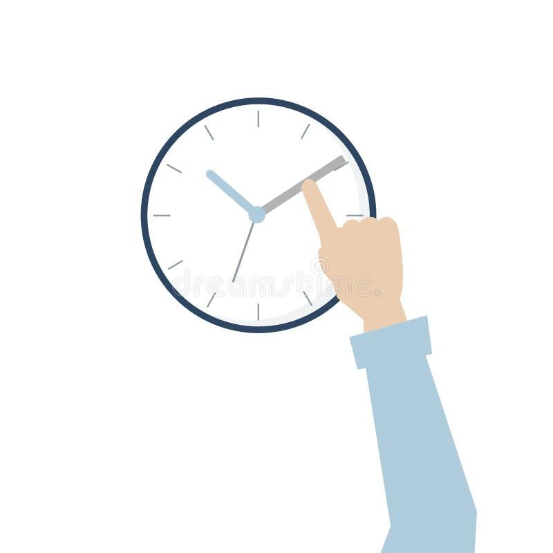 Illustratie van hand met tijdbeheer stock illustratie