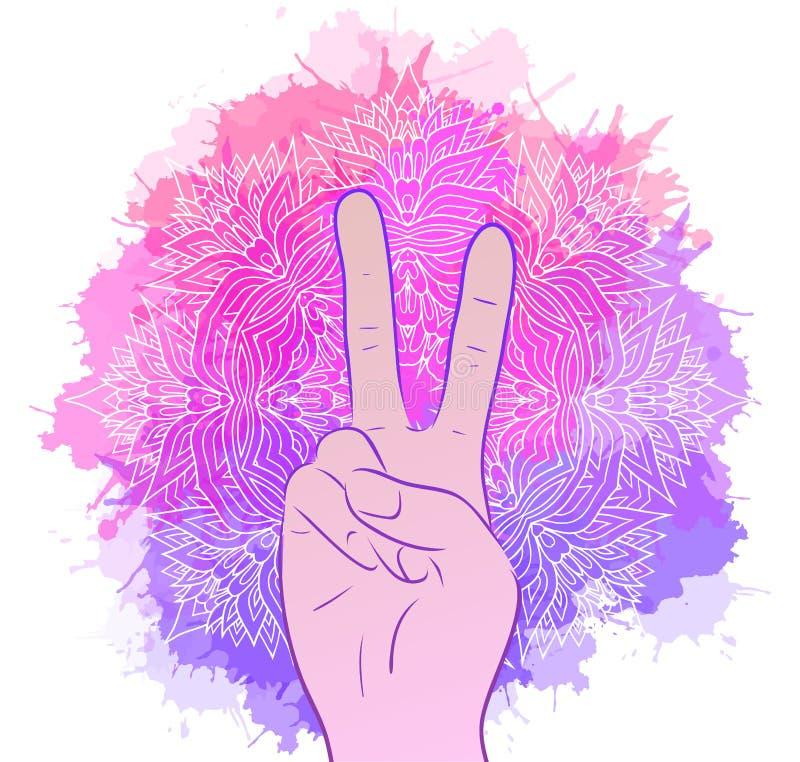 Illustratie van handen met een gebaar van vrede stock illustratie
