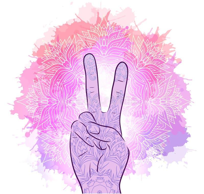Illustratie van handen met een gebaar van vrede Stammenmandala met waterverfplonsen royalty-vrije illustratie