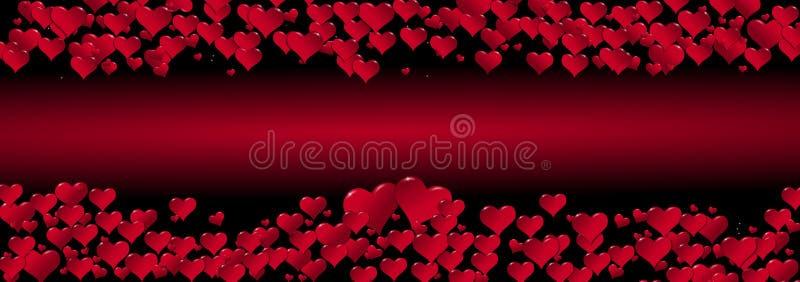 Illustratie van harten op een rode gecentreerde achtergrond stock illustratie