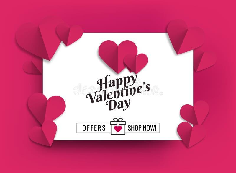 Illustratie van harten van roze kleur Ontwerp voor verkoopbevorderingen royalty-vrije illustratie