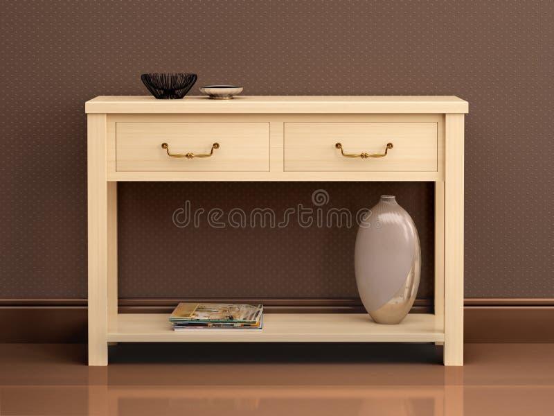 Illustratie van heldere houten ladenkast in donkere interi stock illustratie